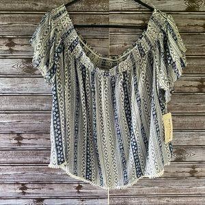 NWT Rewind Off-Shoulder Crocheted Trim Blouse XXL
